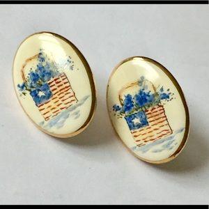 Vintage hand painted American flag earrings